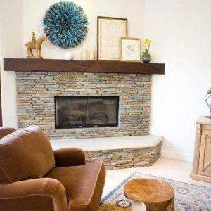 Stone Corner Fireplace Design For Living Room With Open Shelf Ideas In