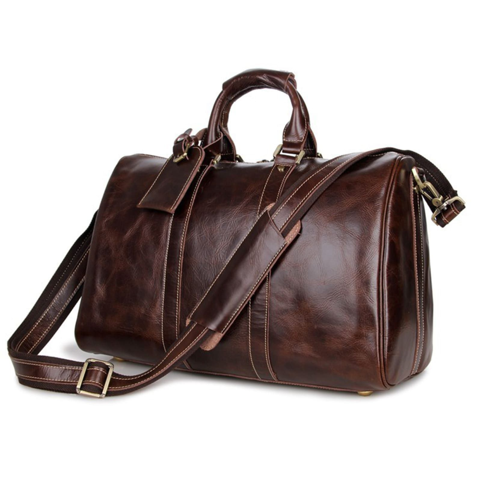 Stylish Brown Leather Holdall | In stock! | Delton Bags – Travel Gift Bag & Givaways Ideas