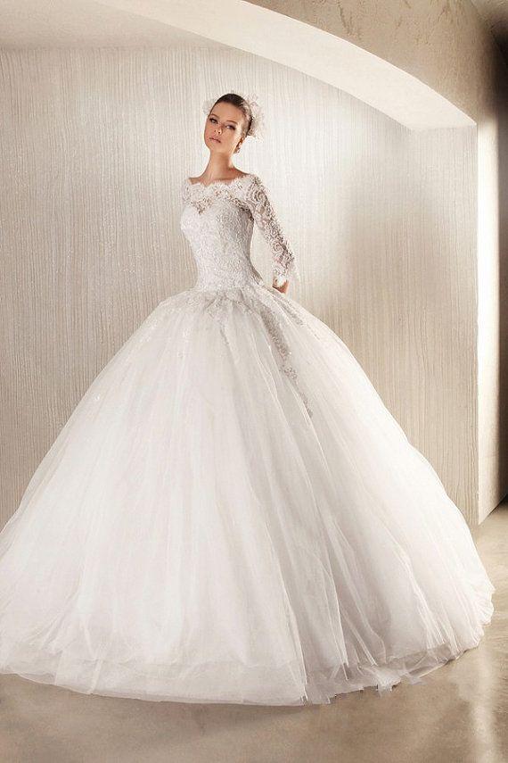 Glamorous Ball Gown Lace Long Sleeves Wedding Dress, Wedding Dresses ...