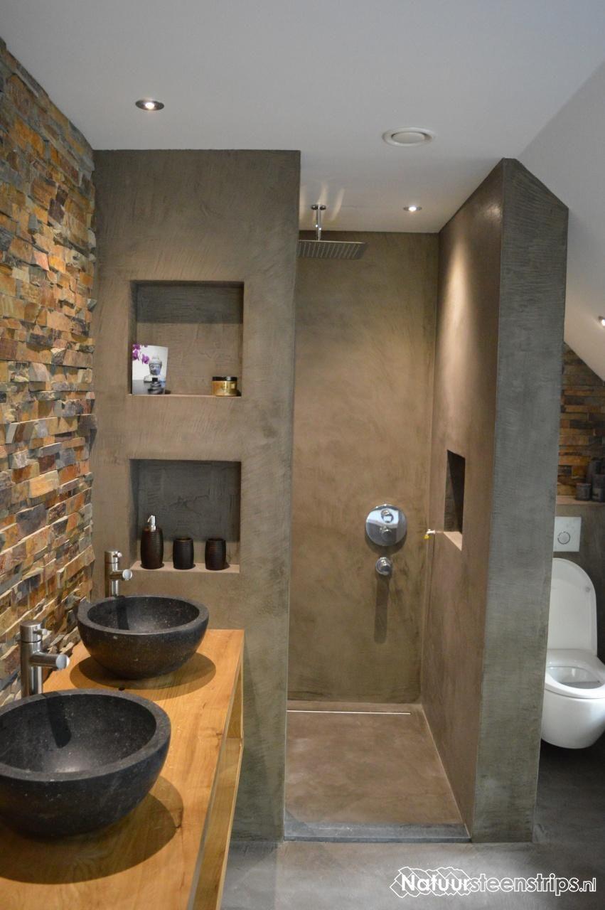 Rustieke lei natuursteenstrips exclusieve uitstraling realisatie kevin wooninspiratie - Rustieke wc ...