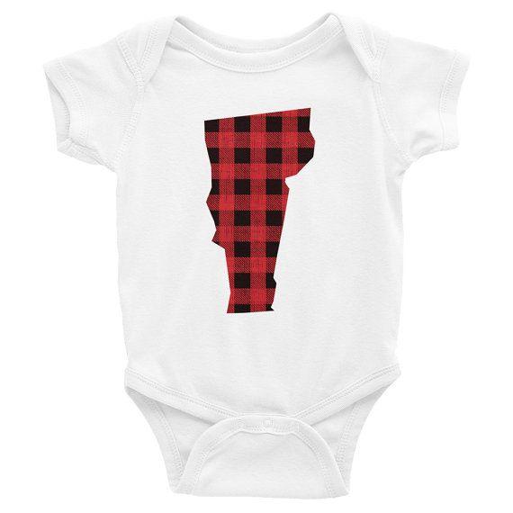 Vermont Baby Outfit Vermont Body Suit Vermont Bodysuit Plaid
