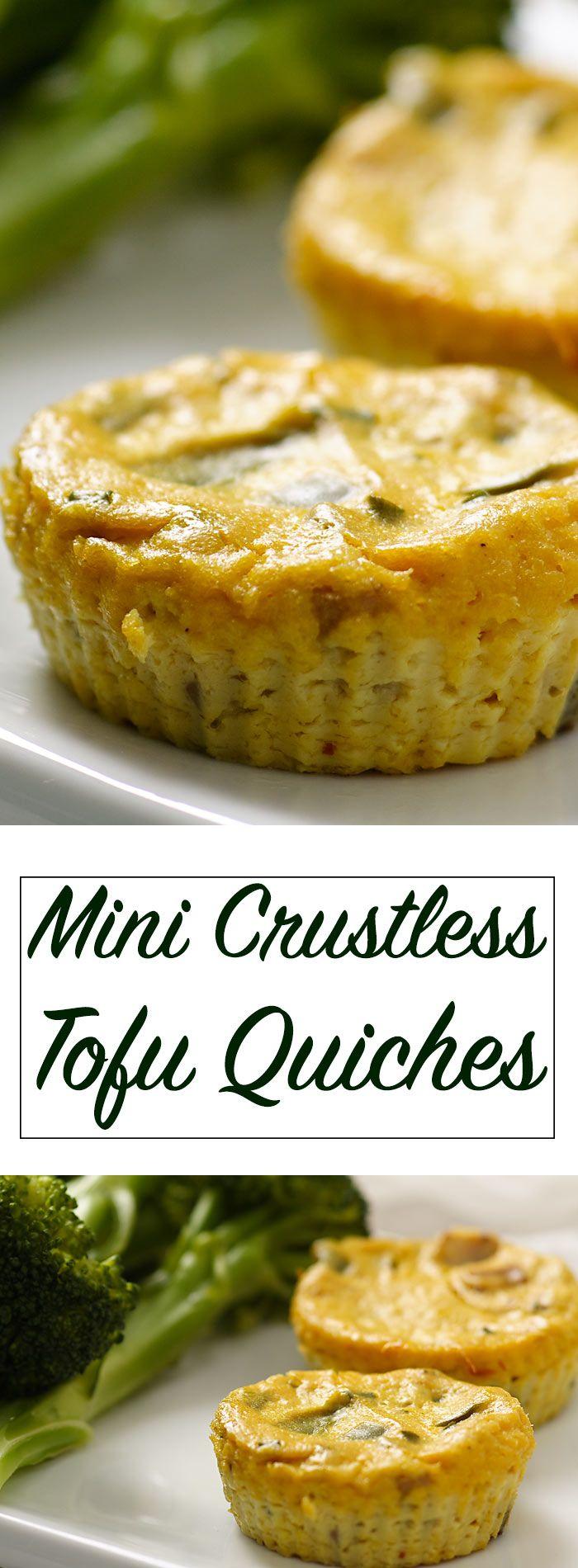 Mini Crustless Tofu Quiches Fatfree Vegan Kitchen Recipe Recipes Appetizers For Party Vegan Kitchen