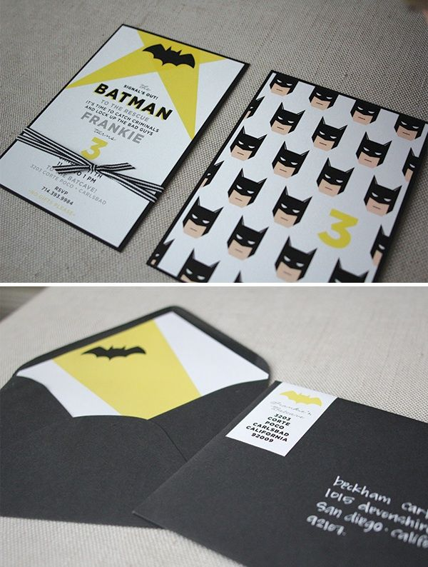 Custom Batman Themed Birthday Invitations