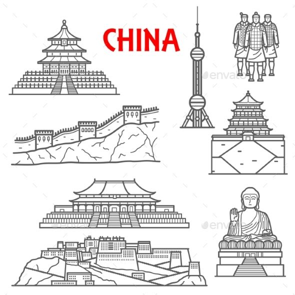 Tourist Attractions Of China Icons With Images Ancient China