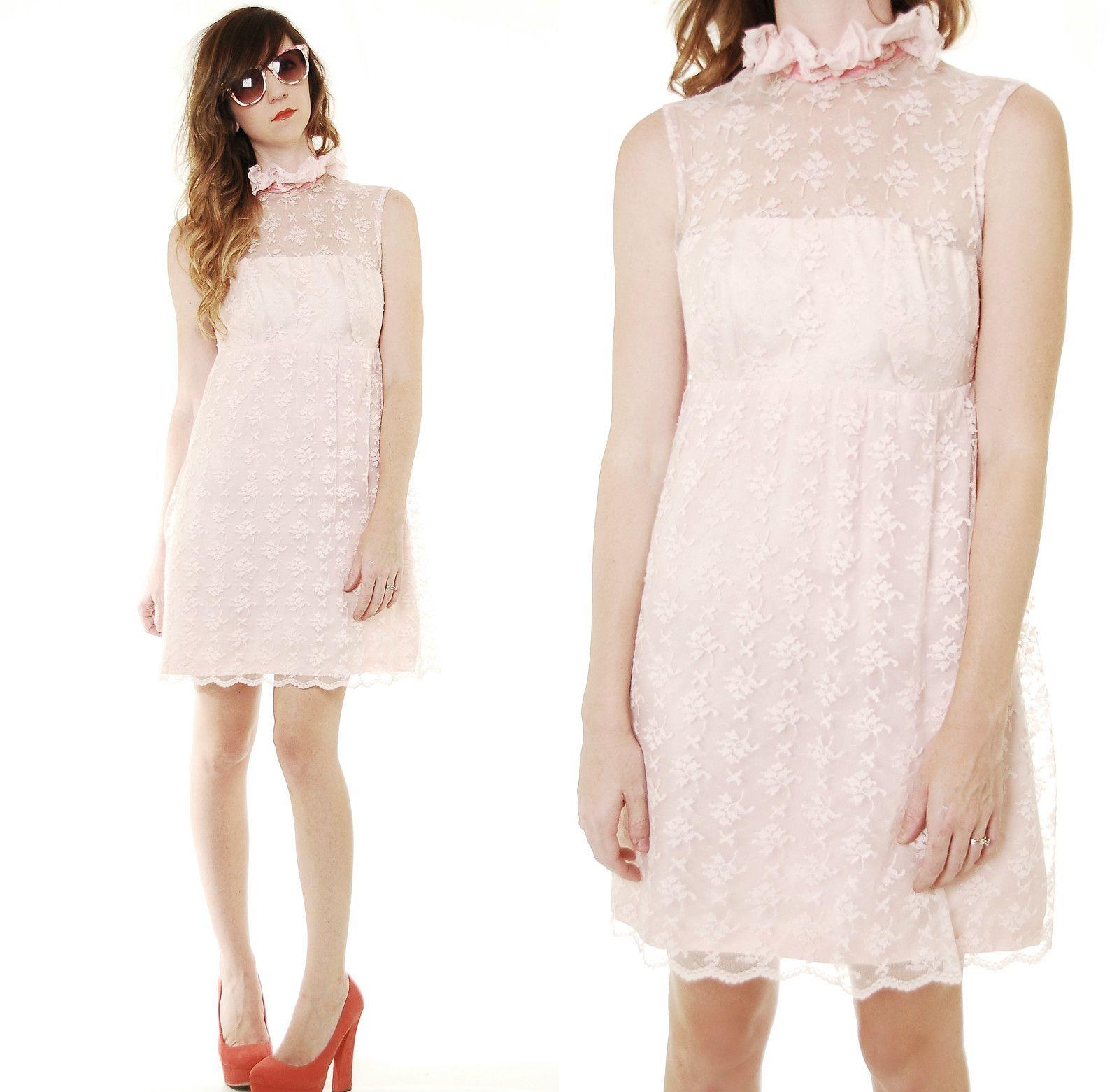 Pretty pink lace 60s dress