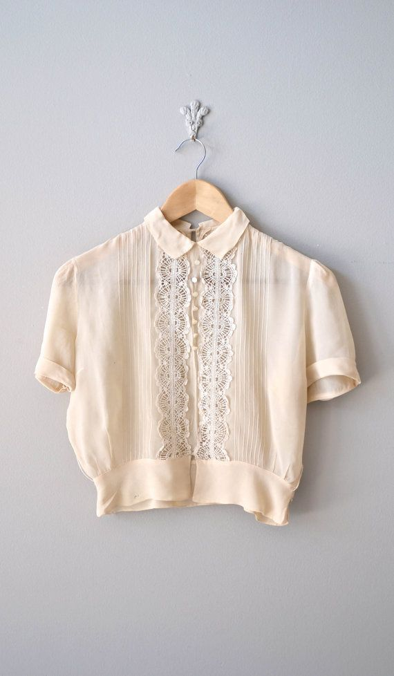 Vintage 40s blouse / cream silk 1940s blouse / lace blouse ...