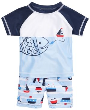 69b8cb6108 First Impressions 2-Pc. Fish Rash Guard & Sailboat Swim Trunks Set, Baby  Boys (0-24 months), Created for Macy's - Bright 18 months