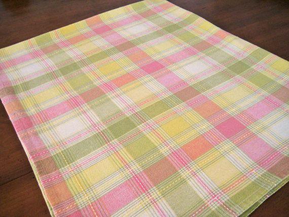 Superior Vintage Plaid Tablecloth Pastel Pink Yellow By LaPetiteVintageShop