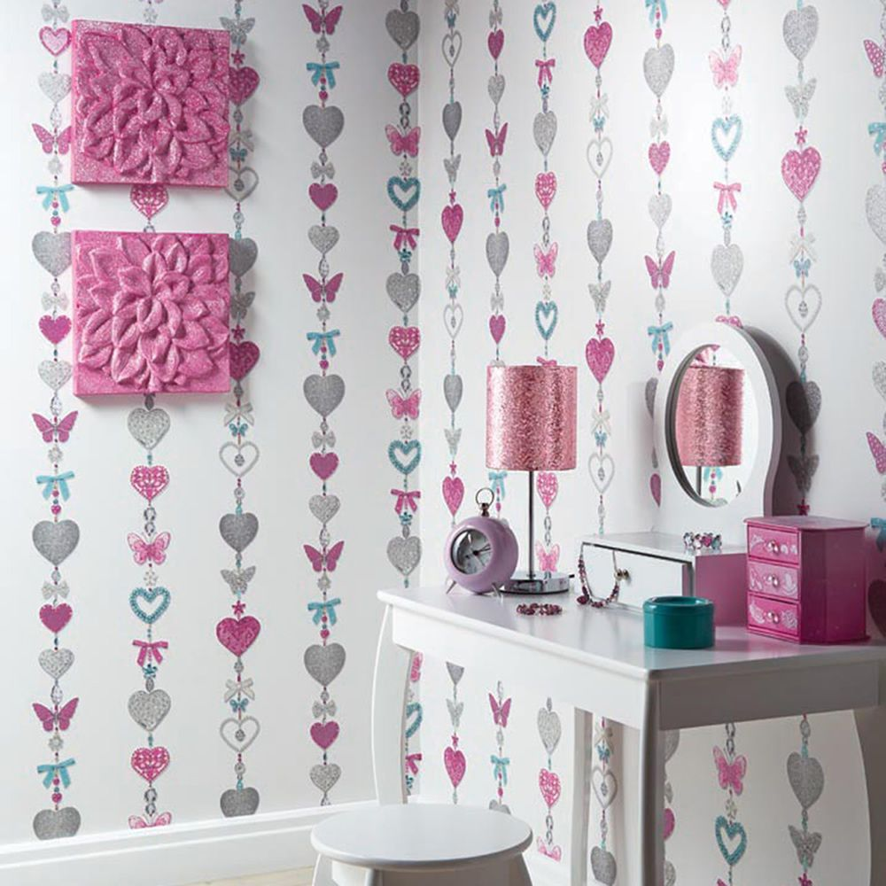 This Beautiful Stripe Design Wallpaper Features Strings Of Jewelled Hearts Bows F Wallpaper Bedroom Feature Wall Feature Wall Bedroom Striped Wallpaper White
