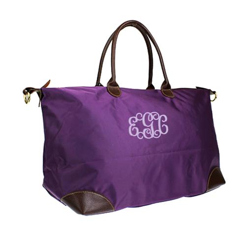 Monogrammed Purple Longchamp Inspired X-Large Weekender/Carry On Bag | MonogrammedMemories - Bags & Purses on ArtFire