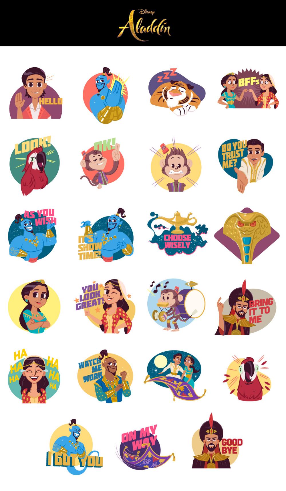 Disney Aladdin Ios Stickers On Behance Disney Sticker Cinderella Sticker Disney Aladdin