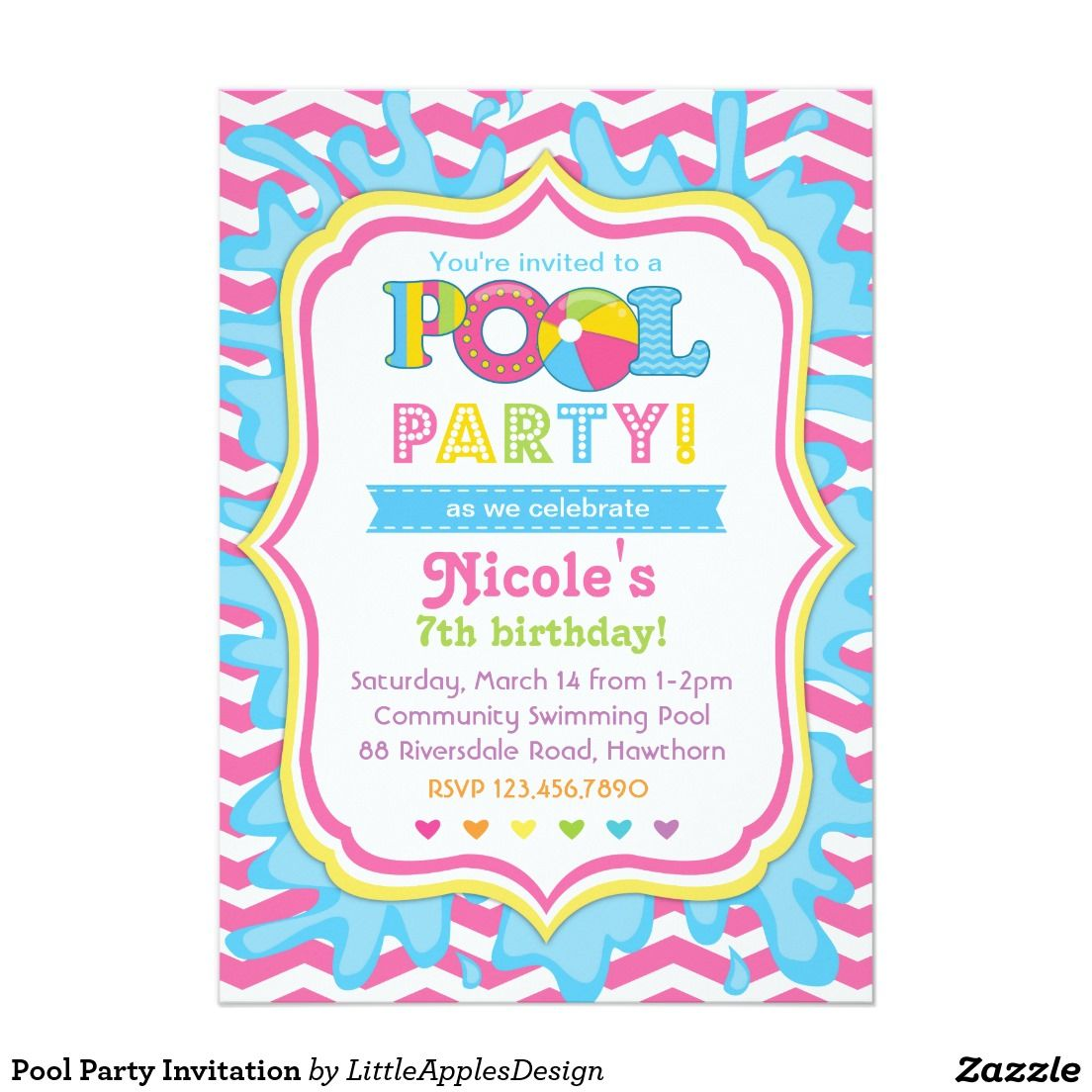 Cute Pastel Colored Pool Party Invitations For Girls! Love