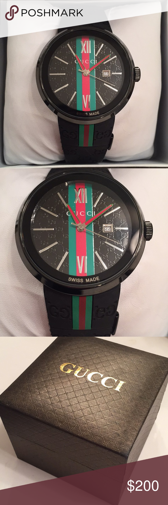 6632ddf762e Gucci watch Black rubber watch
