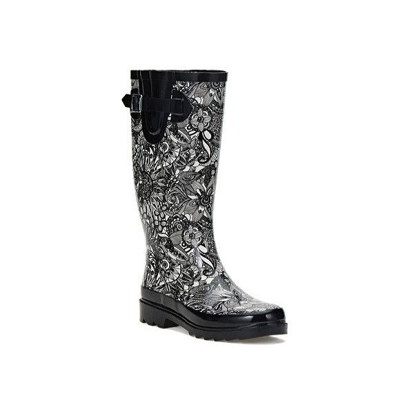 Women's Sakroots Artist Circle Rhythm Rainboot (£35) ❤ liked on Polyvore  featuring shoes · Black And White ...