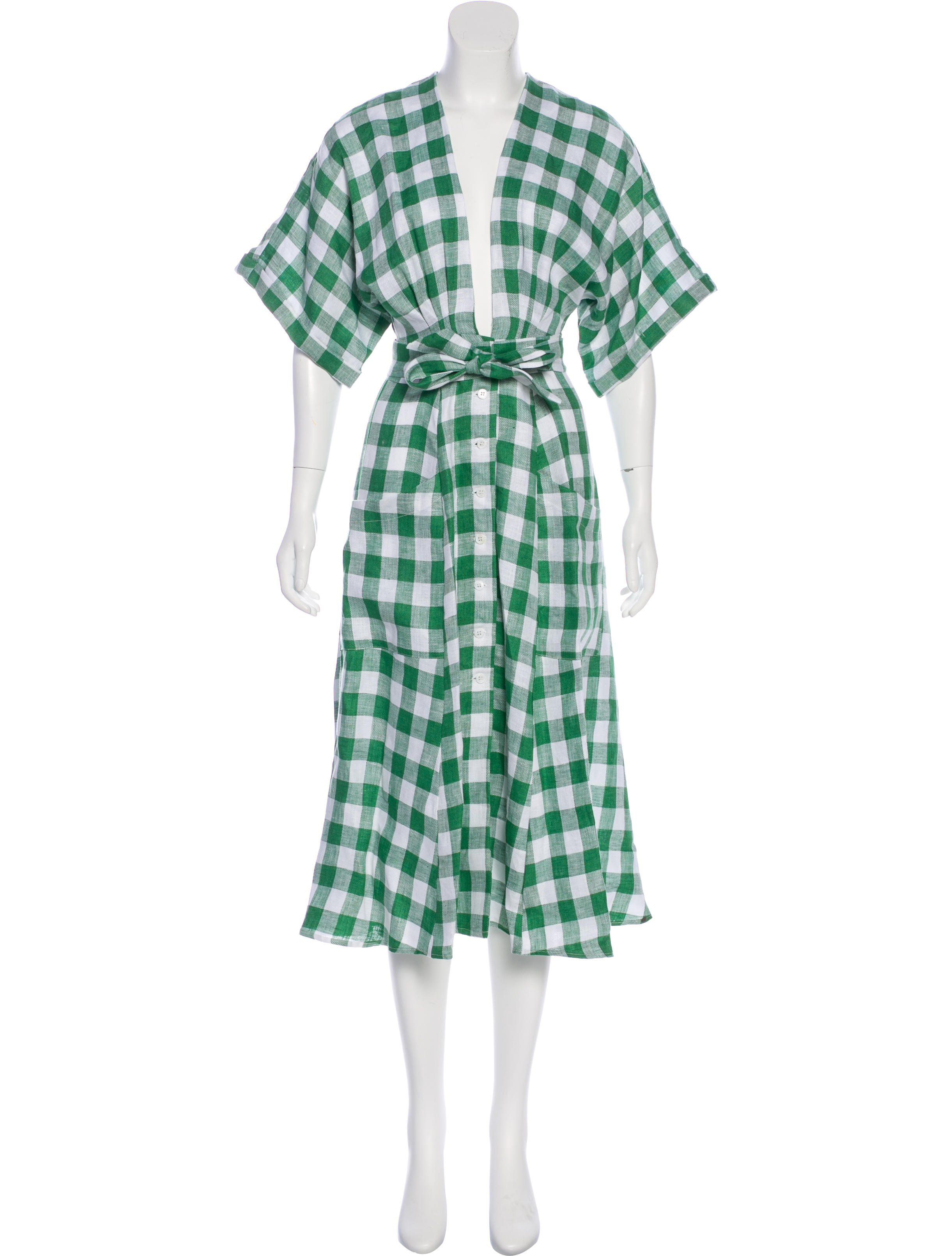 494e05143d001 Green and white Reformation short sleeve midi dress with gingham print  throughout and button closures at