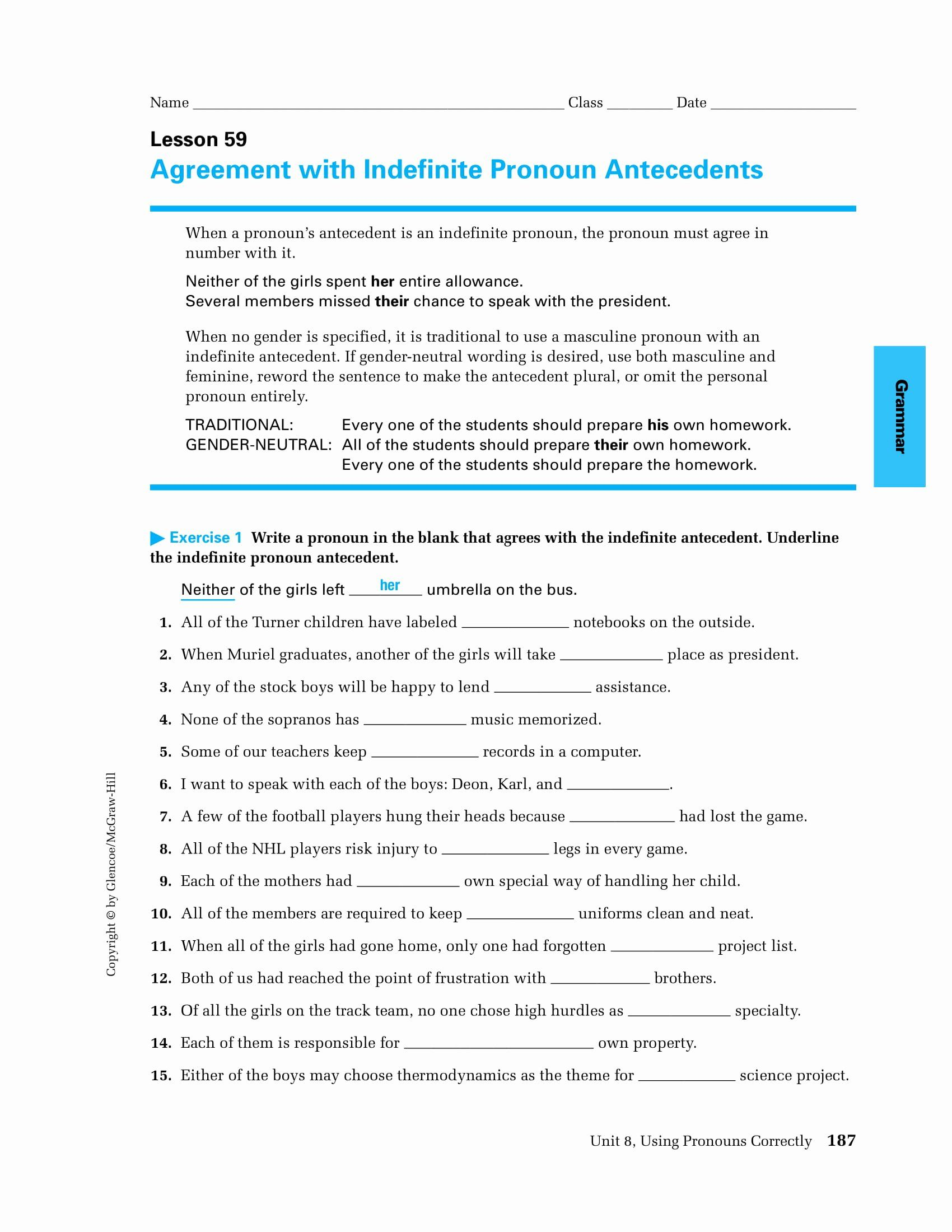 Pronoun Antecedent Agreement Worksheet Unique 9 Pronoun
