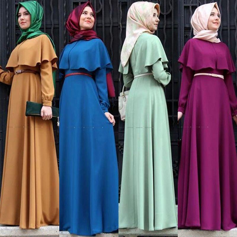 New Personality Cape Style Abaya Turkish Women Clothing Muslim Dress Islamic Cocktail Ladies