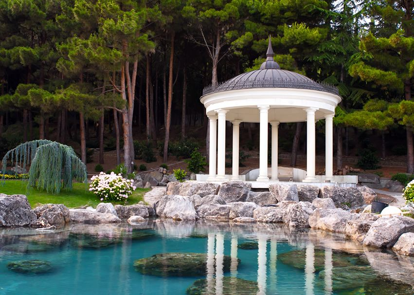 Beautiful Gazebo On Man Made Pond JPEG Image