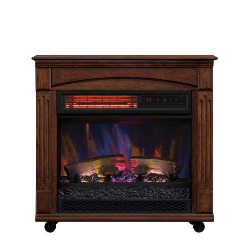Chimneyfree Rolling Mantel Infrared Quartz Electric Fireplace Space Heater Recessed Electric Fireplace Electric Fireplace Fireplace Heater