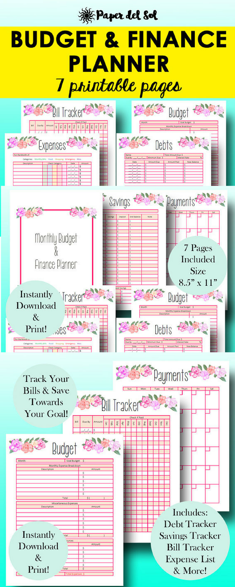 i love these pretty budget printables and they are affordable too