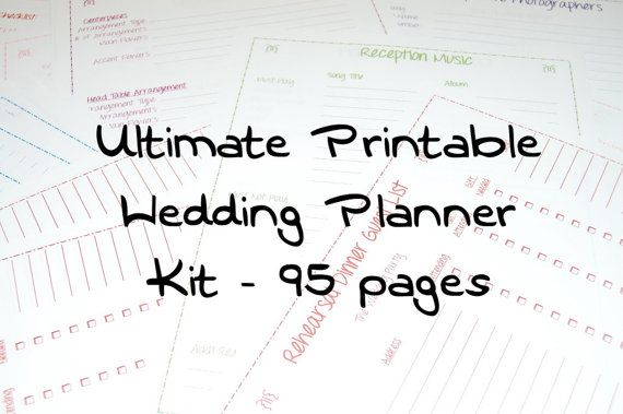 Ultimate Printable Wedding Planner Kit 95 Pages By Postscriptpapers 15 00 Make Planning Your Stress Free