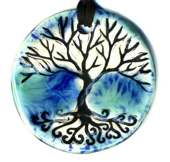 Tree Above And Below Ceramic Necklace In Blues Ceramic