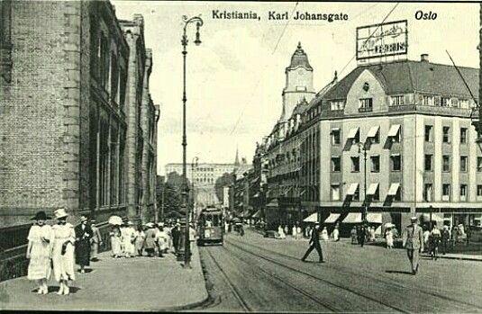 Christiania Kristiania Oslo Karl Johans gate Stortinget Slottet Trikk tidlig 1900-tall
