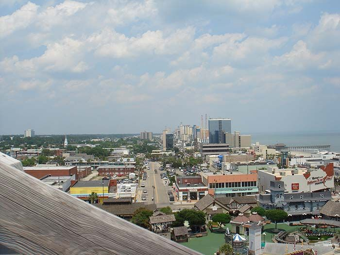 View Of Downtown Myrtle Beach From The Lift Hill On Hurricane Roller Coaster At Old Amut Park