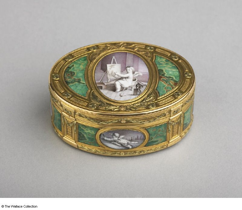 Snuff box Jean-Joseph Barrière (active between: 1763 - 1793), Goldsmith. After François Boucher (1703 - 1770), (miniatures) Paris, France, 1770 - 1771 Gold and enamel, chased, painted and chiselled