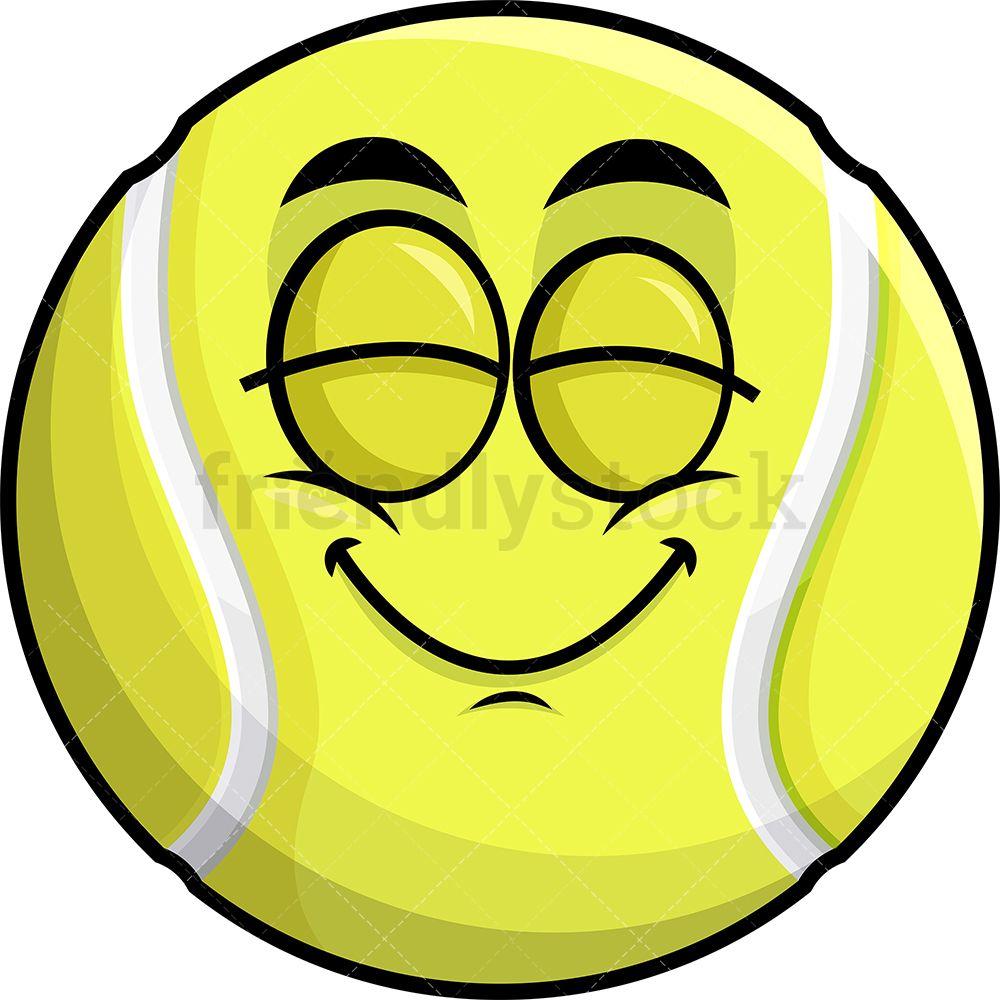 Delighted Tennis Ball Emoji Cartoon Clipart Vector Friendlystock In 2020 Cartoon Clip Art Emoji Clipart Emoji