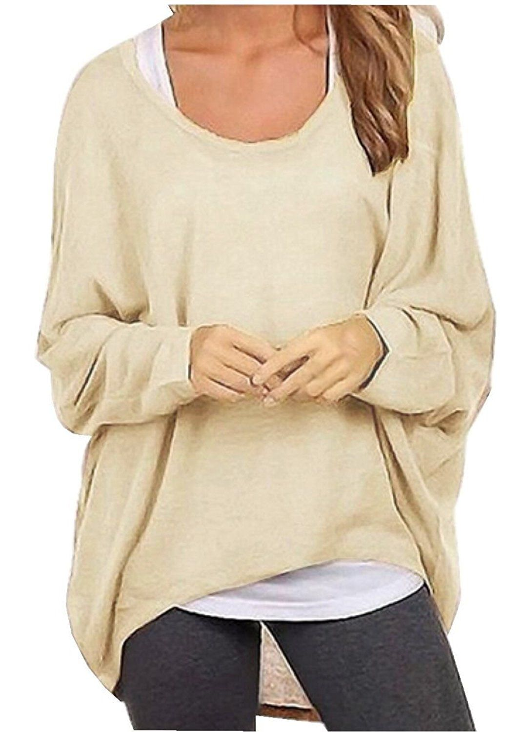 509dad740b7 Uget Women's Casual Oversized Baggy Off-Shoulder Shirts Batwing Sleeve  Pullover Tops at Amazon Women's Clothing store: