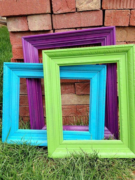 vintage frames set of 3 purple blue and green2rendyvintage