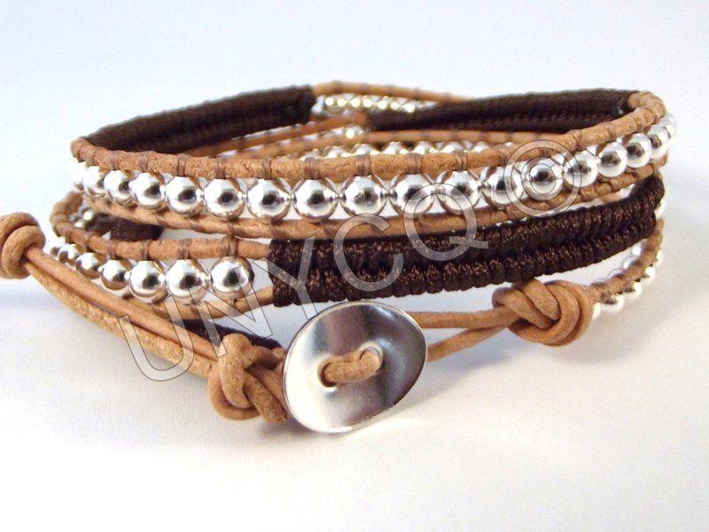 Trendy leren triple herringbone wrap bruin/zilver van Unycq  op DaWanda.com