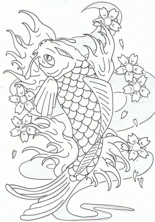 7255 Pictures To Color Koi Fish Animal Coloring Page Print For