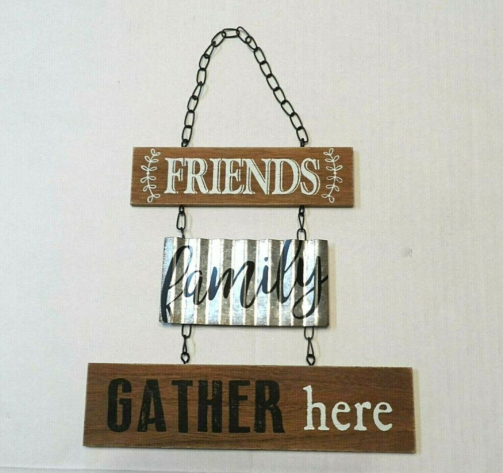 Sign Friends Family Gather Here Wood Wooden Wall Hanging Decor Hobby Lobby Unbranded Rusticprimitive Wooden Wall Hangings Hanging Wall Decor Hanging Signs