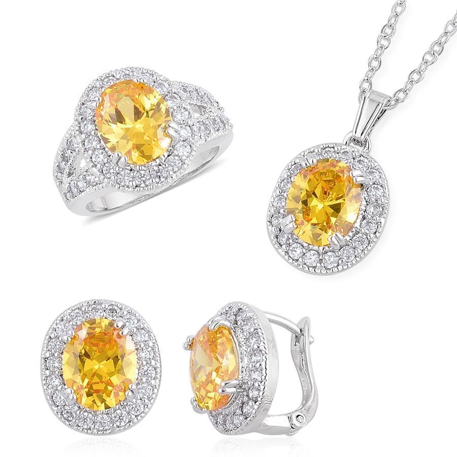 """SIMULATED CANARY YELLOW FANCY DIAMOND RING 9 NECKLACE SET 18"""" CHAIN PIERCED #LC #JEWELRYSET"""