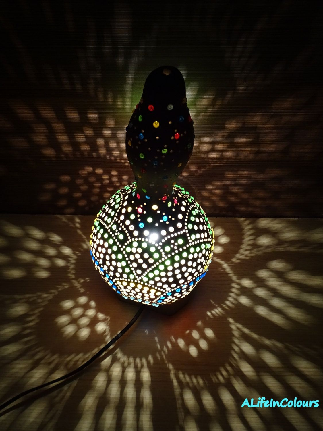 Night Lamps For Bedroom Colourful Unique Decorative Handmade Table Gourd Lamp Bedside
