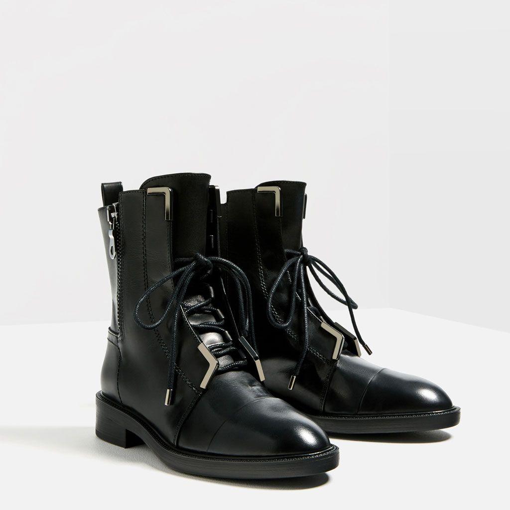 bottines en cuir À lacets-tout voir-chaussures-femme | zara france