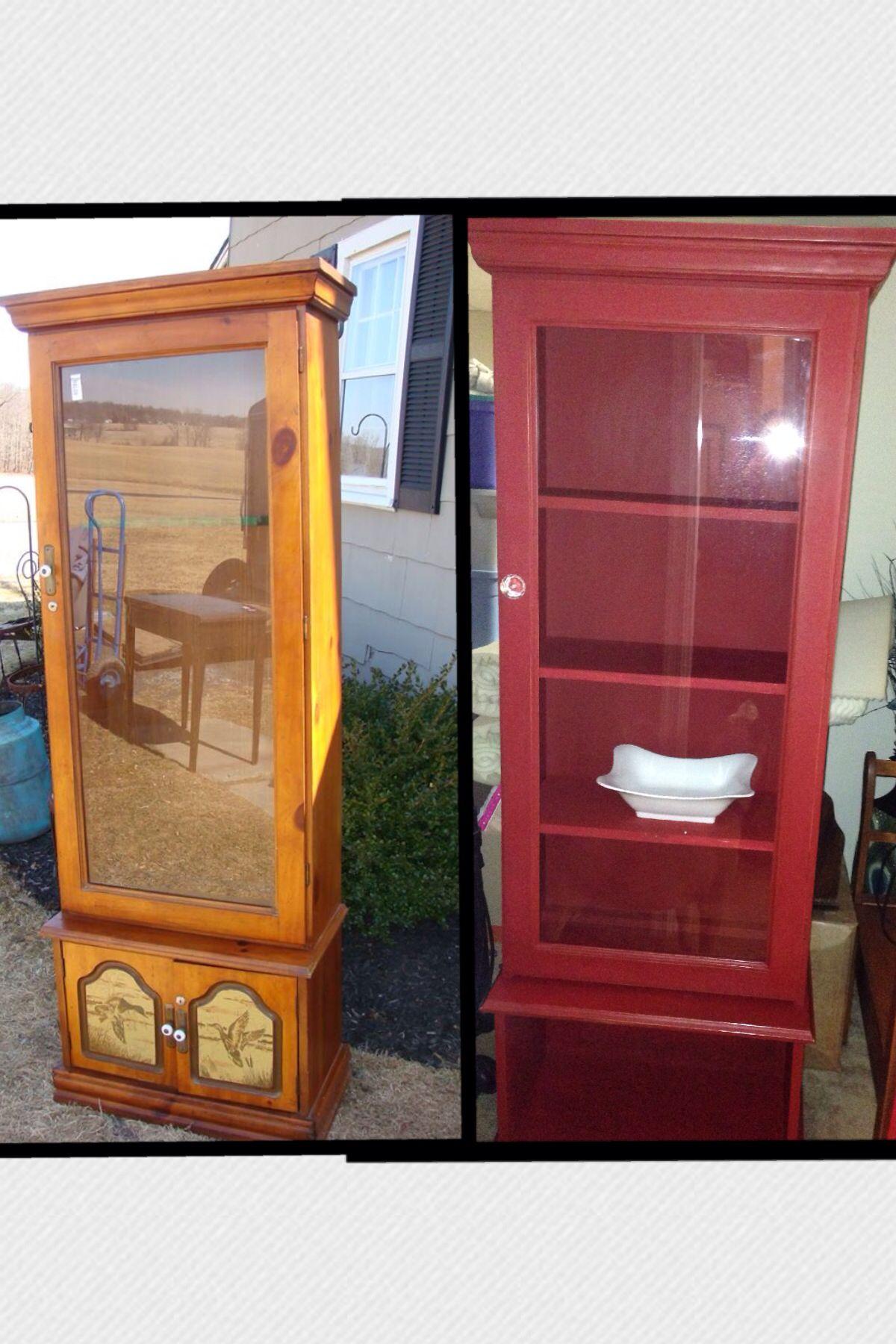 Repurposed gun cabinet www.paintedtreasuresllc.com www.facebook ...