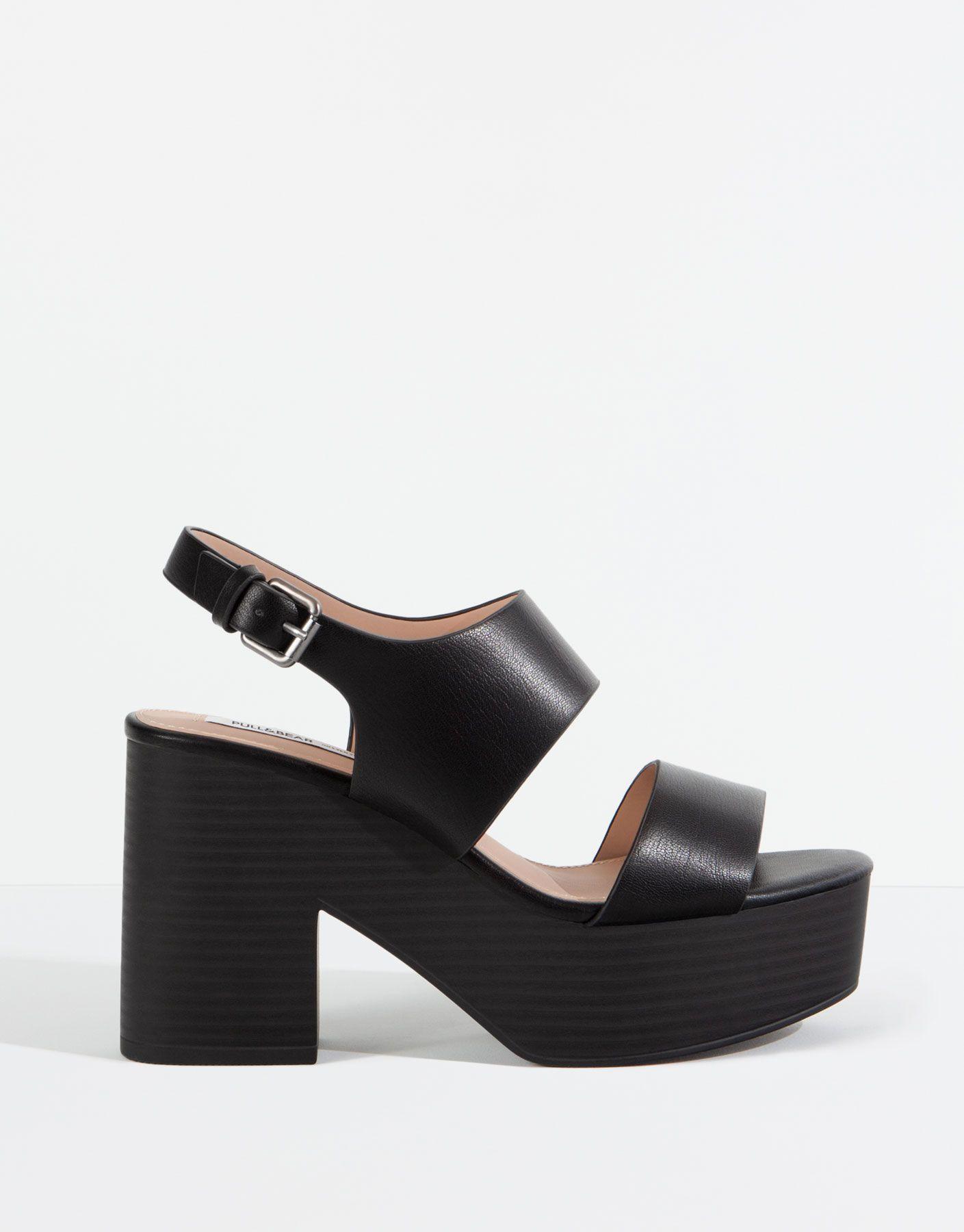 Sandalia Tacon Bloque Negra Zapatos Mujer Mujer Pull Bear Mexico Shoes Women Shoes Heels