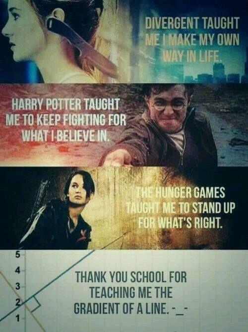 """""""Divergente me enseño a crear mi propio camino en la vida. Harry Potter me enseño a seguir luchando por lo que creo. Los Juegos del Hambre me enseño a defender lo que es correcto. ... Gracias escuela por enseñarme el gradiente de una línea."""""""