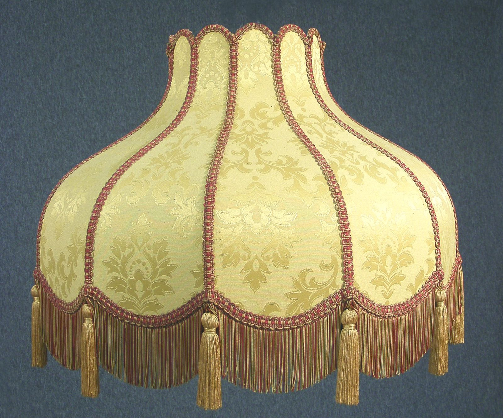 Large Vintage Victorian Damask Lamp Shade Downton Abbey Style