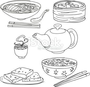 중국 음식 컬렉션 로열티 무료 벡터 아트 그림