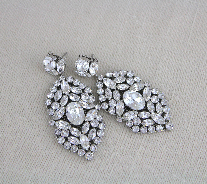 Bridal chandelier earrings bridal earrings bridal jewelry large bridal chandelier earrings bridal earrings bridal jewelry large statement earrings swarovski earrings arubaitofo Choice Image