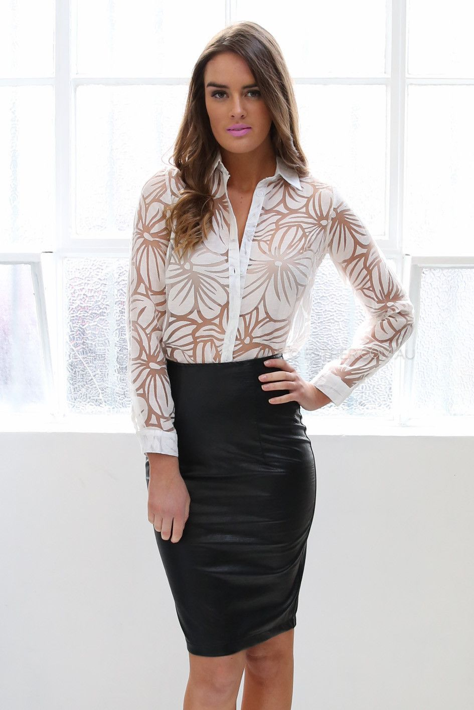 dominique faux leather pencil skirt - black | Esther clothing ...