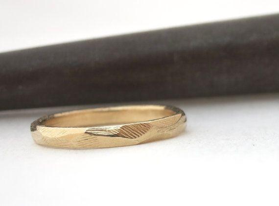 Wedding band women Stacked wedding ring Boho wedding band Wedding band men Gold wedding ring Rustic band solid 14k wedding band