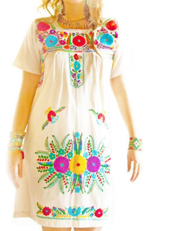 Nature lover Mexican embroidered dress pure cotton by AidaCoronado