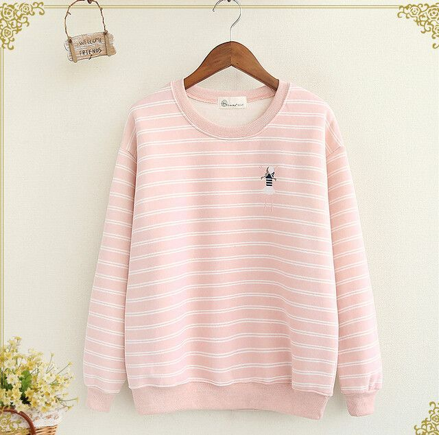 The little girl Embroidery striped o-neck long sleeve pullover Sweatshirts women autumn mori girl