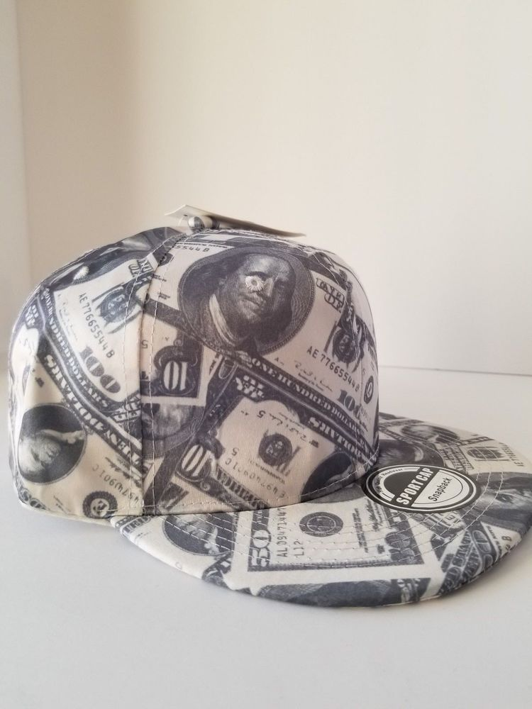 CASH MONEY NEW HUNDREDS SNAPBACK HAT CAP $100 DOLLAR BILLS BENJAMINS FLAT BILL