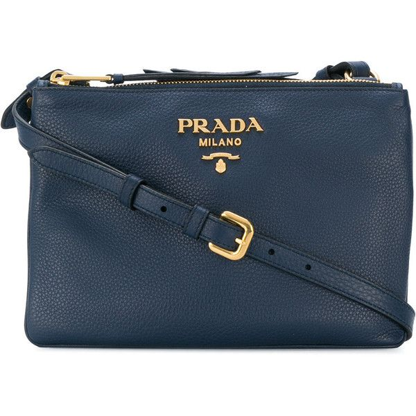 86dc9216c68b Prada Vitello Daino crossbody bag ($1,465) ❤ liked on Polyvore featuring  bags, handbags, shoulder bags, blue, blue leather handbags, leather handbags,  ...